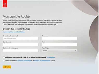 Je ne possède pas d'identifiant (ID) Adobe