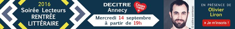 Inscription soirée rentrée littéraire Decitre Annecy
