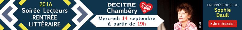 Inscription soirée rentrée littéraire Decitre Chambéry