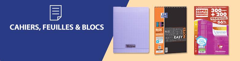 Papeterie cahiers feuilles et blocs